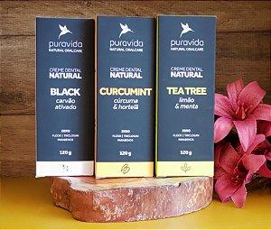 Kit Oral Care com 3 cremes dentais: 01 TEA TREE, 01 BLACK e 01 CURCUMINT - PURA VIDA