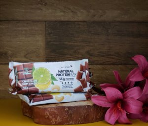 Natural Protein Bar: CHOCOLATE COM LIMÃO 60g - PURA VIDA
