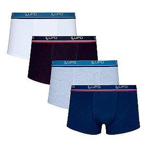 Kit com 4 Cuecas Lupo Mini Boxer Sunga Branca, Preta, Cinza e Azul Marinho - Algodão com Elastano - 460