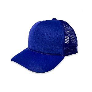 Boné Trucker Azul Royal - Aba Curva Liso com Redinha