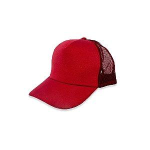 Boné Trucker Vermelho - Aba Curva Liso com Redinha