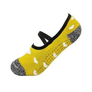 Meia Antiderrapante Pilates Amarela com Corações Ted Socks