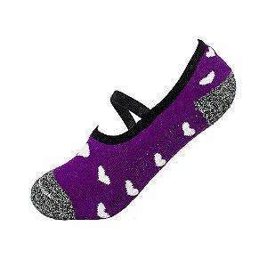 Meia Antiderrapante Pilates Roxa com Corações Ted Socks