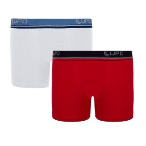 Kit 2 Cuecas Lupo Boxer Infantil Algodão Branco e Vermelho 141