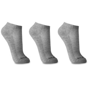 Kit 3 Meias Sem Costura Cano Curto Cinza Walk Ted Socks
