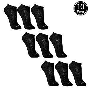 Kit 10 Meias Sem Costura Cano Curto Preta Walk Ted Socks 1500