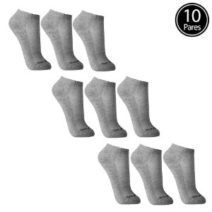 Kit 10 Meias Sem Costura Cano Curto Cinza Walk Ted Socks