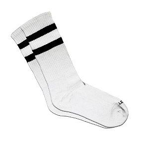 Meia Cano Longo Branca Listrada Ted Socks 2700