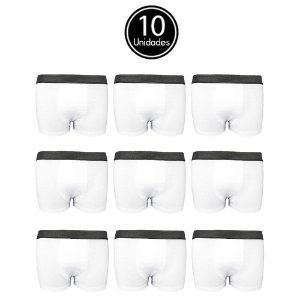 Kit com 10 Cuecas Boxer Branca Algodão Lisa C5