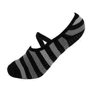 Meia Antiderrapante de Pilates Cinza com Listras Ted Socks