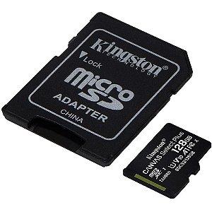 Cartão de Memória Kingston Canvas Select Plus MicroSD 128GB Classe 10 com Adaptador, para Câmeras Automáticas/Dispositiv