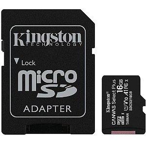 Cartão de Memória Kingston Canvas Select Plus MicroSD 16GB Classe 10 com Adaptador, para Câmeras Automáticas/Dispositivo