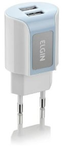 Carregador De Tomada C/2 Saídas USB Bivolt Elgin