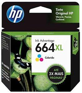 Cartucho de Tinta HP 664XL 8ml Colorido de Alto Rendimento