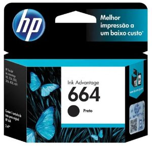 Cartucho de Tinta HP - Preto 664 2ML