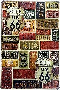 Placa de metal decorativa - Route 66 - Yaay