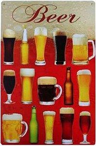 Placa Decorativa De Metal Chopp Retro Beer