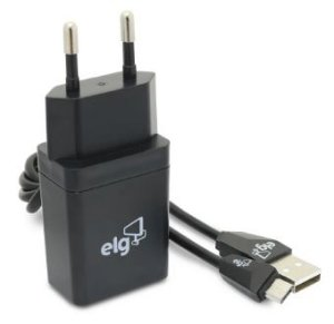Kit Carregador de Parede Universal 1 Saída USB com Cabo Micro USB 1 Metro para Recarga KT510WC Preto