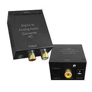 Conversor de áudio digital para analógico - Toslink e SPDIF / entradas coaxiais para saídas de fone de ouvido analógico