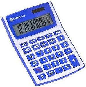 Calculadora De Mesa 12 Dígitos Com Alimentação Solar Ou A Pilha –CM30-12 Branca/azul