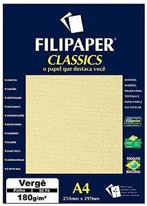Papel Vergê A4 Filipaper Classics 180g 50 Folhas Palha