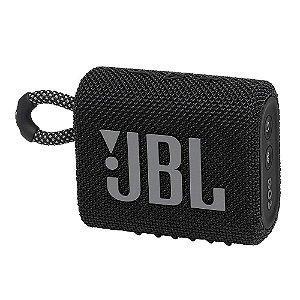 Caixa de Som Bluetooth JBL GO3 IPX7, Potência de 4.2 W RMS, À Prova d'água, Autonomia de 5 Horas Preto