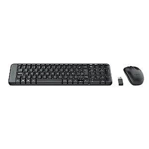 Teclado e Mouse Logitech MK220 Sem Fio Compacto Preto ABNT2