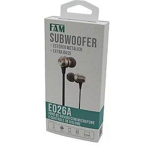 Fone De Ouvido Com Microfone/controle De Volume - FCA-E026A