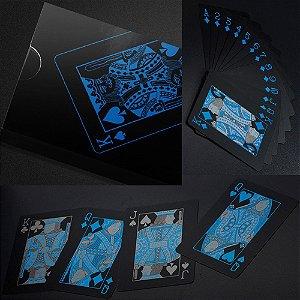 1B -  Baralho  Preto Azul PVC   Ilusionista  Magica 55 cartas