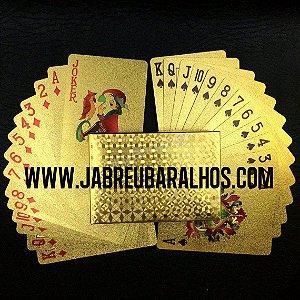 1B - Baralho Dourado Ouro 24k 54 Cards Poker