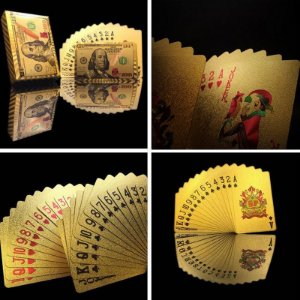 1B - Baralho Dourado 24k 100 Dolares Novo Modelo Selo Verde