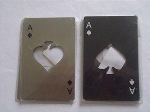 Z -   1 pç Abridor de garrafas Mini Spade Poker Cartão de Aço Inoxidável -  Preto e Prata