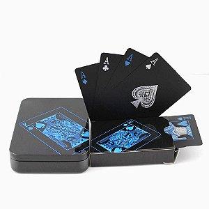 Baralho Arcane Preto + Caixa de Metal  - PVC  Impermeável Poker Magica Truco