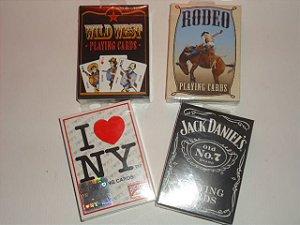 1 -  4 Baralhos Promoção =  1 Wild West  1 Jack Daniels 1 Rodeo 1 I Love NY