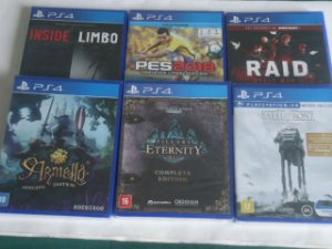 Y - Jogos PS4 - Raid World War II -  Inside Limbo - Armello Ed Especial, PES 2018, Pillars of Eternity,  Star War   -  49,80 Cada
