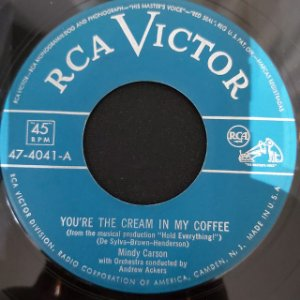 COMPACTO - Mindy Carson – You're The Cream In My Coffee / The Best Things In Life Are Free (Importado US)