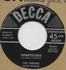 COMPACTO - Ted Weems And His Orchestra – Heartaches / Oh! Monah