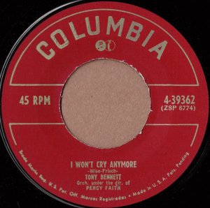 Compacto - Tony Bennett – I Won't Cry Anymore / Because Of You