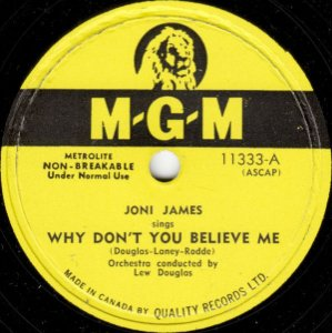 Compacto - Joni James - Why Don't You Believe Me / Purple Shades