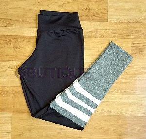 Calça Legging Suplex Preto  e Cinza Mescla com Tiras Brancas
