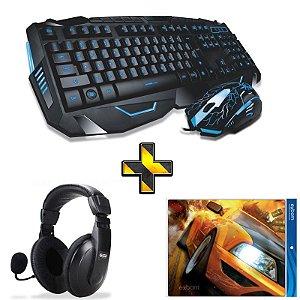 Kit Gamer Completo! Teclado + Mouse Sem Fio HK8100 + Headset + Mouse Pad