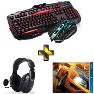 Kit Gamer Completo! Teclado + Mouse com Fio V100 + Headset + Mouse Pad