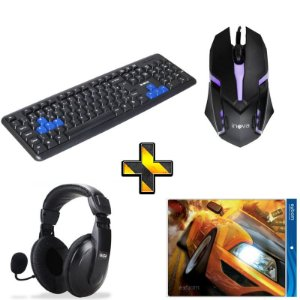 Kit Gamer Completo! Teclado + Mouse + Headset + Mouse Pad
