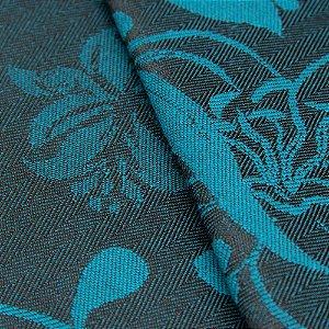 Tecido Jacquard Algodão Impermeabilizado Floral Azul Preto - Pan 05