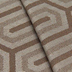 Tecido Jacquard Algodão Impermeabilizado Geometrico Bege e Marrom Claro - Pan 19