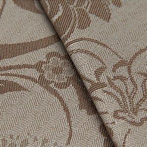 Tecido Jacquard Algodão Impermeabilizado Floral Bege e Marrom Claro - Pan 20