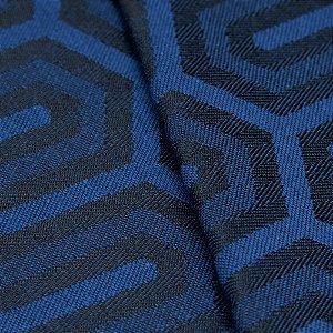 Tecido Jacquard Algodão Impermeabilizado Geometrico Azul escuro e Royal - Pan 23