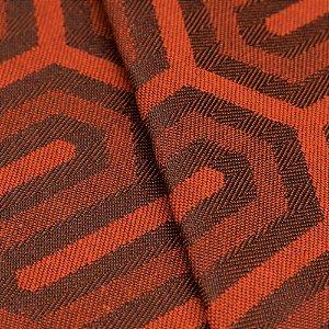 Tecido Jacquard Algodão Impermeabilizado Geometrico Laranja Preto - Pan 27