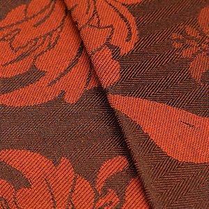 Tecido Jacquard Algodão Impermeabilizado Flores Laranja Preto - Pan 28