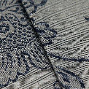 Tecido Jacquard Algodão Impermeabilizado Floral Cinza Azul  - Pan 35